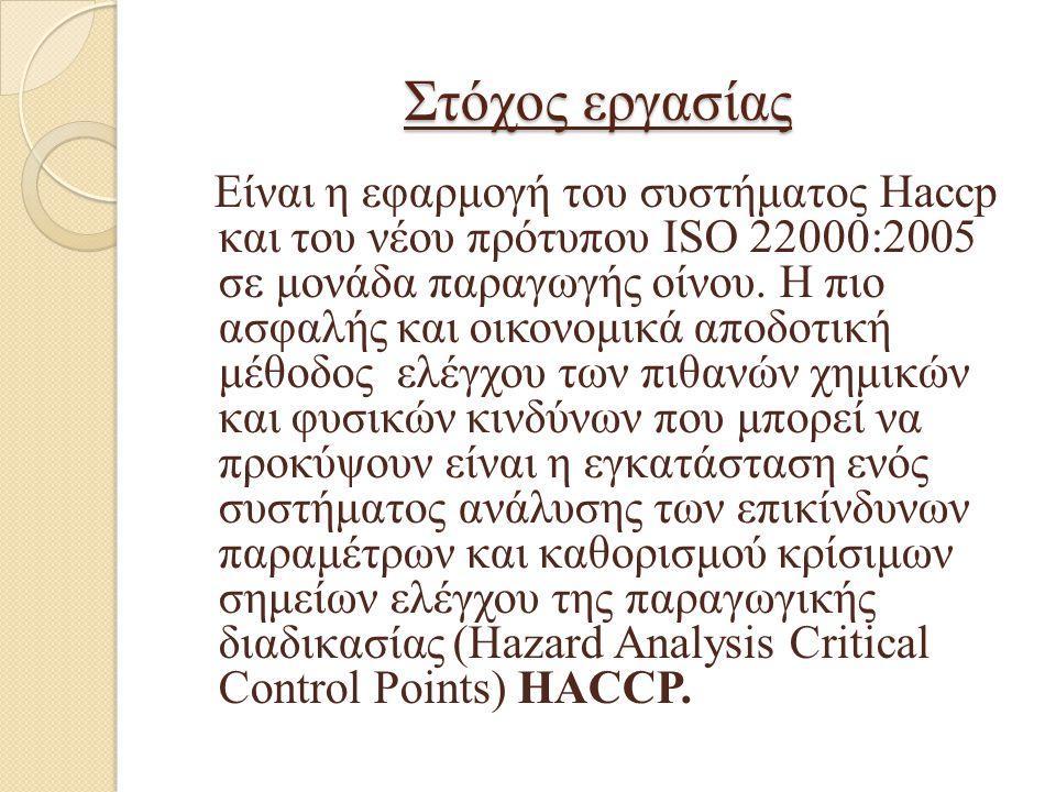Στόχος εργασίας Είναι η εφαρμογή του συστήματος Haccp και του νέου πρότυπου ISO 22000:2005 σε μονάδα παραγωγής οίνου. Η πιο ασφαλής και οικονομικά απο