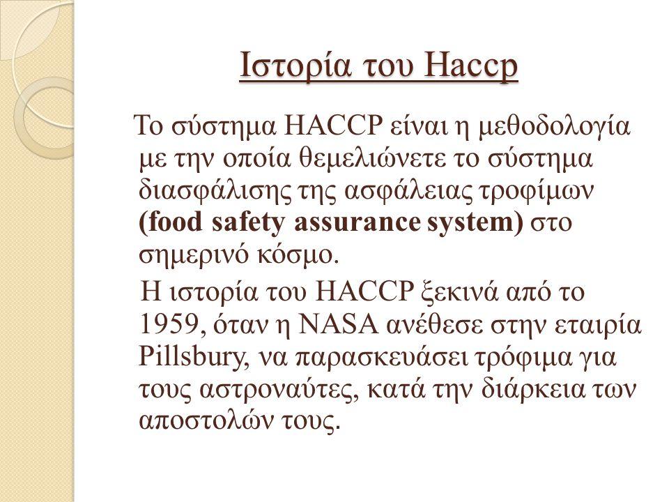Ιστορία του Haccp Το σύστημα HACCP είναι η μεθοδολογία με την οποία θεμελιώνετε το σύστημα διασφάλισης της ασφάλειας τροφίμων (food safety assurance s