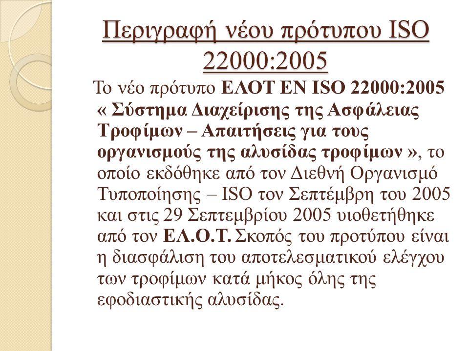 Περιγραφή νέου πρότυπου ISO 22000:2005 Το νέο πρότυπο ΕΛΟΤ ΕΝ ISO 22000:2005 « Σύστημα Διαχείρισης της Ασφάλειας Τροφίμων – Απαιτήσεις για τους οργανι