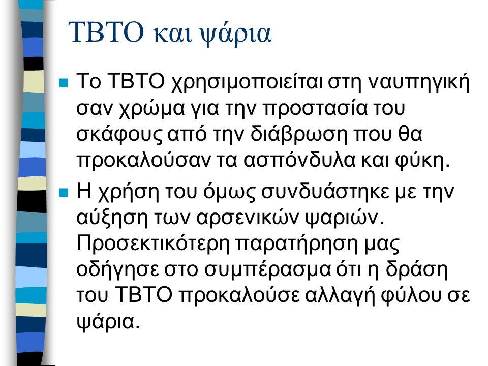 TBTO και ψάρια n Το TBTO χρησιμοποιείται στη ναυπηγική σαν χρώμα για την προστασία του σκάφους από την διάβρωση που θα προκαλούσαν τα ασπόνδυλα και φύκη.