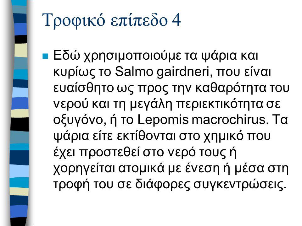 Τροφικό επίπεδο 4 n Εδώ χρησιμοποιούμε τα ψάρια και κυρίως το Salmo gairdneri, που είναι ευαίσθητο ως προς την καθαρότητα του νερού και τη μεγάλη περιεκτικότητα σε οξυγόνο, ή το Lepomis macrochirus.