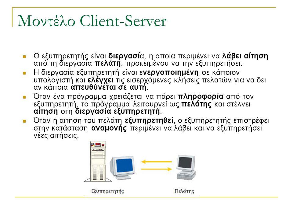 Μοντέλο Client-Server Ο εξυπηρετητής είναι διεργασία, η οποία περιμένει να λάβει αίτηση από τη διεργασία πελάτη, προκειμένου να την εξυπηρετήσει. Η δι