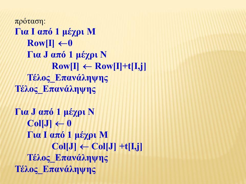 πρόταση: Για Ι από 1 μέχρι Μ Row[I]  0 Για J από 1 μέχρι N Row[I]  Row[I]+t[I,j] Τέλος_Επανάληψης Για J από 1 μέχρι N Col[J]  0 Για Ι από 1 μέχρι Μ Col[J]  Col[J] +t[I,j] Τέλος_Επανάληψης