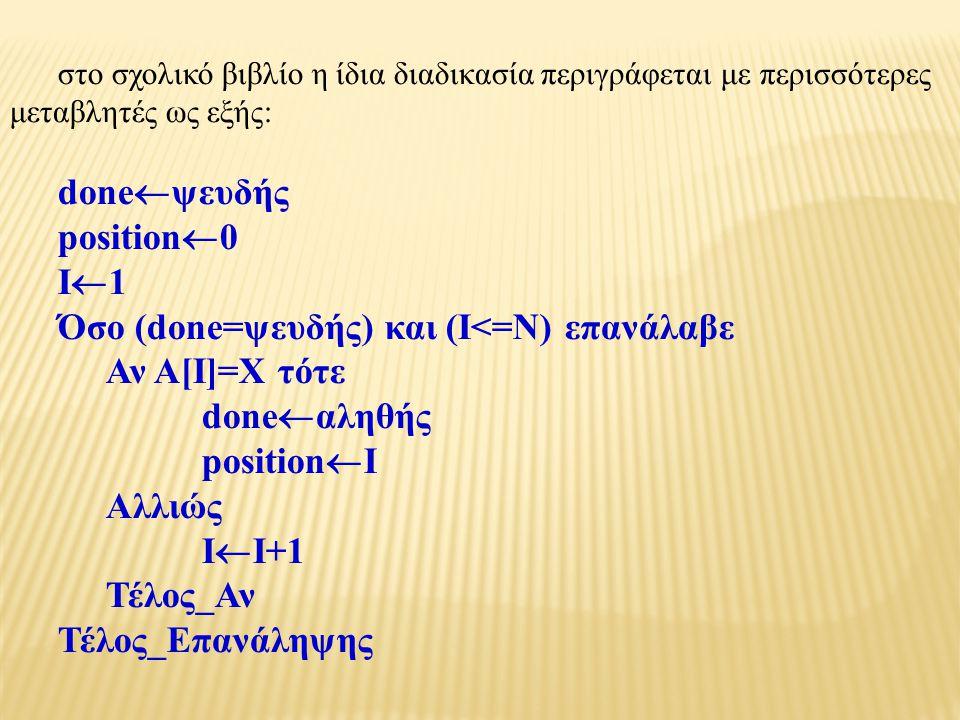 στο σχολικό βιβλίο η ίδια διαδικασία περιγράφεται με περισσότερες μεταβλητές ως εξής: done  ψευδής position  0 I  1 Όσο (done=ψευδής) και (Ι<=Ν) επανάλαβε Αν Α[Ι]=Χ τότε done  αληθής position  Ι Αλλιώς Ι  Ι+1 Τέλος_Αν Τέλος_Επανάληψης