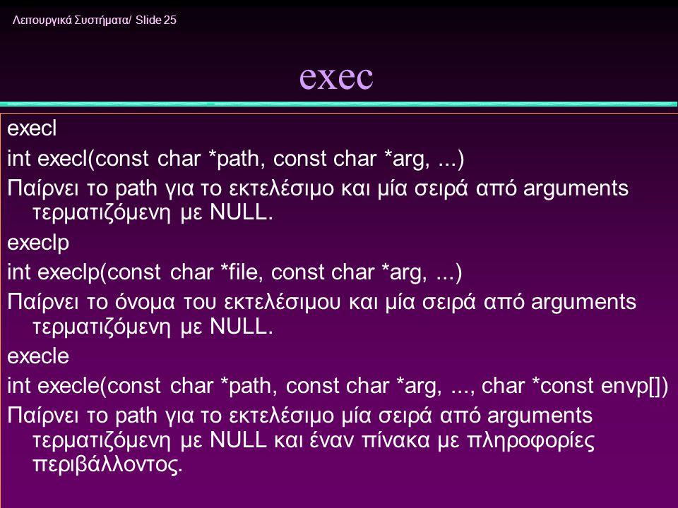Λειτουργικά Συστήματα/ Slide 25 exec execl int execl(const char *path, const char *arg,...) Παίρνει το path για το εκτελέσιμο και μία σειρά από argume