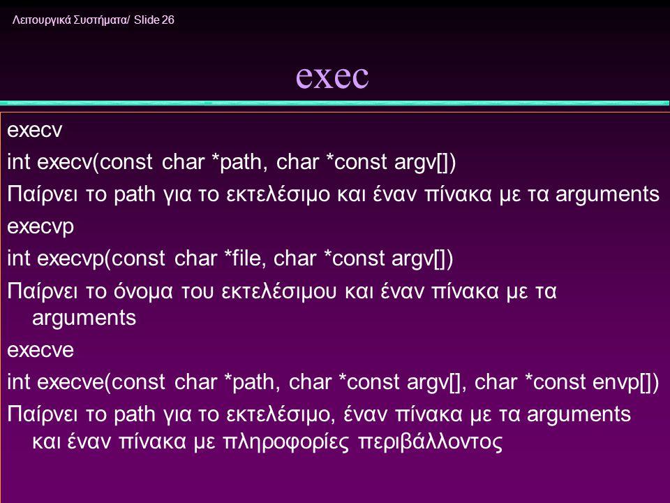 Λειτουργικά Συστήματα/ Slide 26 exec execv int execv(const char *path, char *const argv[]) Παίρνει το path για το εκτελέσιμο και έναν πίνακα με τα arg