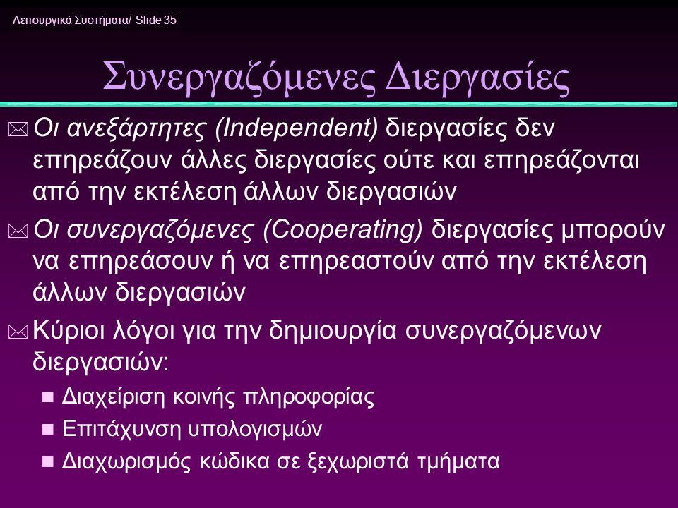 Λειτουργικά Συστήματα/ Slide 35 Συνεργαζόμενες Διεργασίες * Οι ανεξάρτητες (Independent) διεργασίες δεν επηρεάζουν άλλες διεργασίες ούτε και επηρεάζον