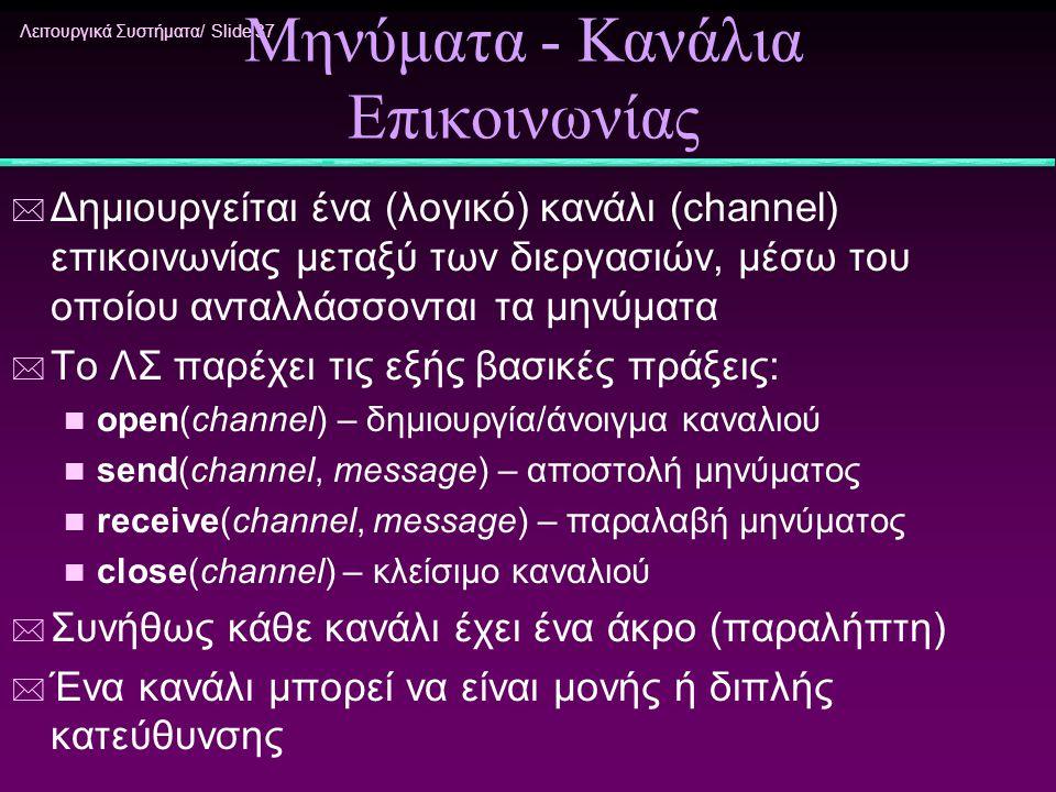 Λειτουργικά Συστήματα/ Slide 37 Μηνύματα - Κανάλια Επικοινωνίας * Δημιουργείται ένα (λογικό) κανάλι (channel) επικοινωνίας μεταξύ των διεργασιών, μέσω