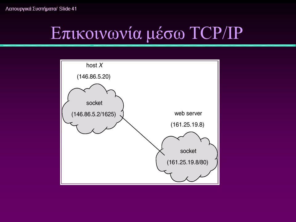 Λειτουργικά Συστήματα/ Slide 41 Επικοινωνία μέσω TCP/IP