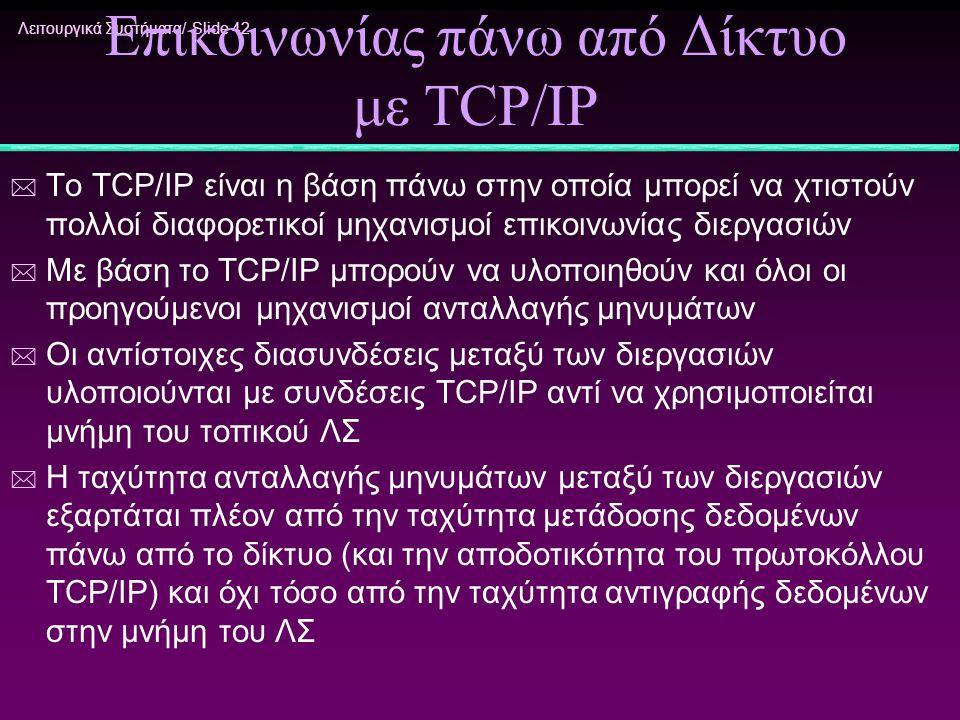 Λειτουργικά Συστήματα/ Slide 42 Υλοποίηση Μηχανισμών Επικοινωνίας πάνω από Δίκτυο με TCP/IP * Το TCP/IP είναι η βάση πάνω στην οποία μπορεί να χτιστού