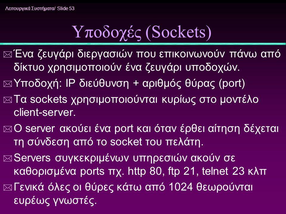 Λειτουργικά Συστήματα/ Slide 53 Υποδοχές (Sockets) * Ένα ζευγάρι διεργασιών που επικοινωνούν πάνω από δίκτυο χρησιμοποιούν ένα ζευγάρι υποδοχών. * Υπο