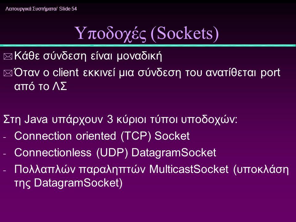 Λειτουργικά Συστήματα/ Slide 54 Υποδοχές (Sockets) * Κάθε σύνδεση είναι μοναδική * Όταν ο client εκκινεί μια σύνδεση του ανατίθεται port από το ΛΣ Στη