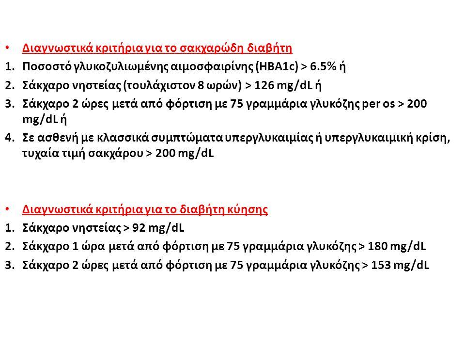 Διαγνωστικά κριτήρια για το σακχαρώδη διαβήτη 1.Ποσοστό γλυκοζυλιωμένης αιμοσφαιρίνης (HBA1c) > 6.5% ή 2.Σάκχαρο νηστείας (τουλάχιστον 8 ωρών) > 126 m