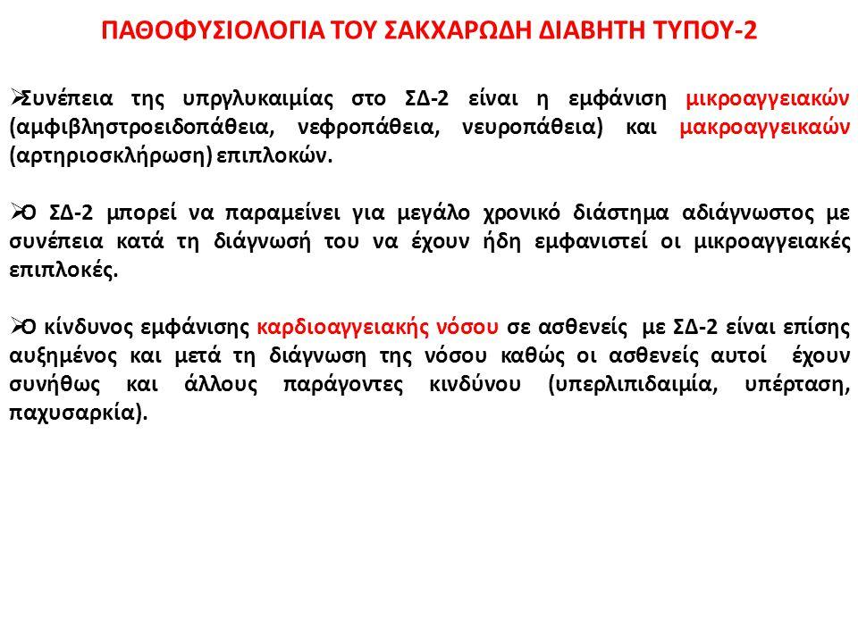ΠΑΘΟΦΥΣΙΟΛΟΓΙΑ ΤΟΥ ΣΑΚΧΑΡΩΔΗ ΔΙΑΒΗΤΗ ΤΥΠΟΥ-2  Συνέπεια της υπργλυκαιμίας στο ΣΔ-2 είναι η εμφάνιση μικροαγγειακών (αμφιβληστροειδοπάθεια, νεφροπάθεια