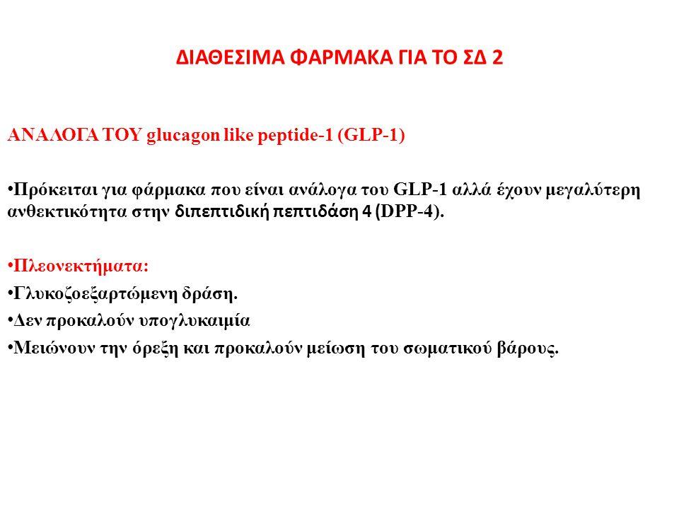 ΔΙΑΘΕΣΙΜΑ ΦΑΡΜΑΚΑ ΓΙΑ ΤΟ ΣΔ 2 ΑΝΑΛΟΓΑ ΤΟΥ glucagon like peptide-1 (GLP-1) Πρόκειται για φάρμακα που είναι ανάλογα του GLP-1 αλλά έχουν μεγαλύτερη ανθε