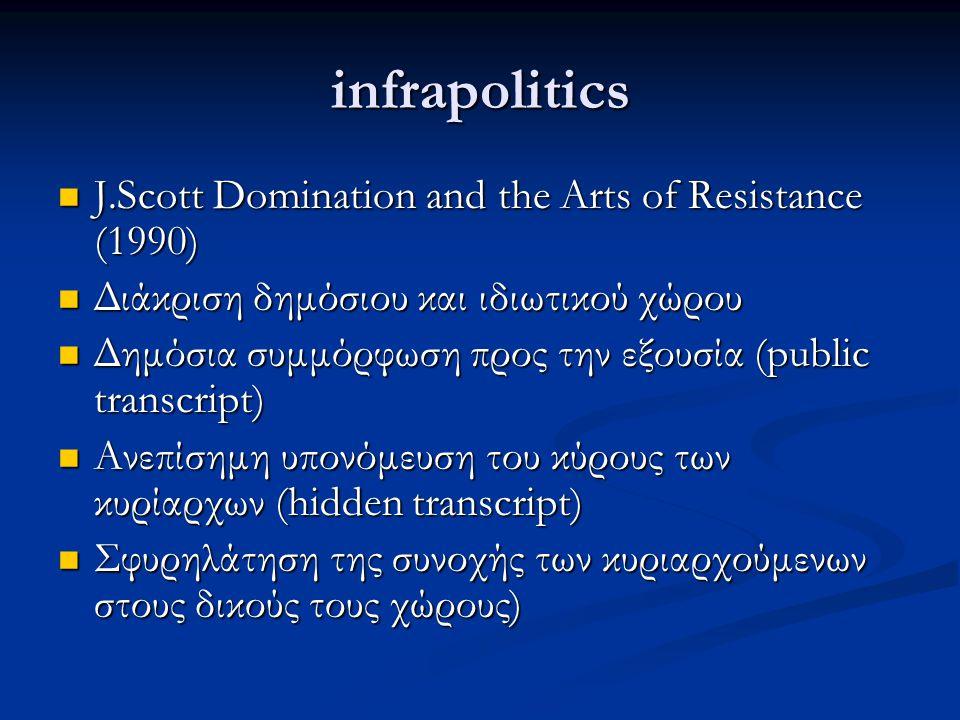 infrapolitics J.Scott Domination and the Arts of Resistance (1990) J.Scott Domination and the Arts of Resistance (1990) Διάκριση δημόσιου και ιδιωτικού χώρου Διάκριση δημόσιου και ιδιωτικού χώρου Δημόσια συμμόρφωση προς την εξουσία (public transcript) Δημόσια συμμόρφωση προς την εξουσία (public transcript) Ανεπίσημη υπονόμευση του κύρους των κυρίαρχων (hidden transcript) Ανεπίσημη υπονόμευση του κύρους των κυρίαρχων (hidden transcript) Σφυρηλάτηση της συνοχής των κυριαρχούμενων στους δικούς τους χώρους) Σφυρηλάτηση της συνοχής των κυριαρχούμενων στους δικούς τους χώρους)