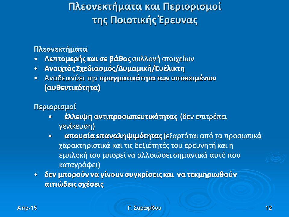 Απρ-15Γ. Σαραφίδου12 Πλεονεκτήματα και Περιορισμοί της Ποιοτικής Έρευνας Πλεονεκτήματα Λεπτομερής και σε βάθος συλλογή στοιχείωνΛεπτομερής και σε βάθο