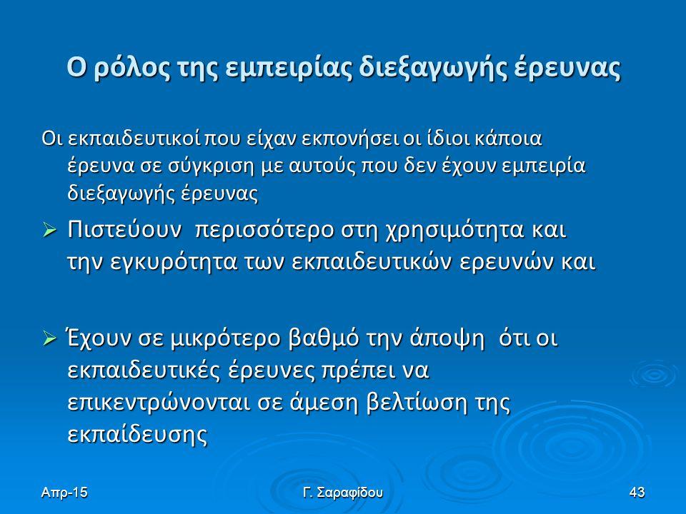 Απρ-15Γ. Σαραφίδου43 Ο ρόλος της εμπειρίας διεξαγωγής έρευνας Οι εκπαιδευτικοί που είχαν εκπονήσει οι ίδιοι κάποια έρευνα σε σύγκριση με αυτούς που δε