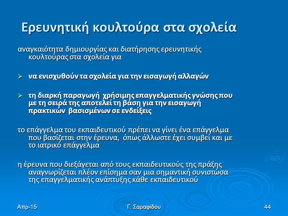 Απρ-15Γ. Σαραφίδου44 Ερευνητική κουλτούρα στα σχολεία αναγκαιότητα δημιουργίας και διατήρησης ερευνητικής κουλτούρας στα σχολεία για  να ενισχυθούν τ