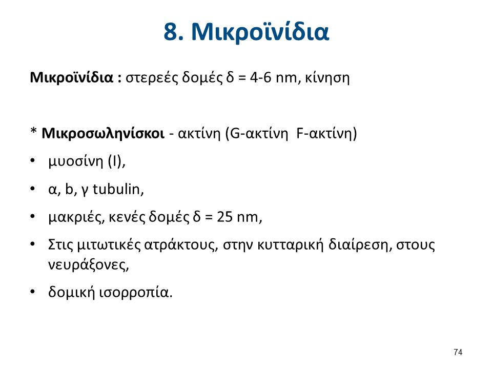 8. Μικροϊνίδια Μικροϊνίδια : στερεές δομές δ = 4-6 nm, κίνηση * Μικροσωληνίσκοι - ακτίνη (G-ακτίνη F-ακτίνη) μυοσίνη (Ι), α, b, γ tubulin, μακριές, κε