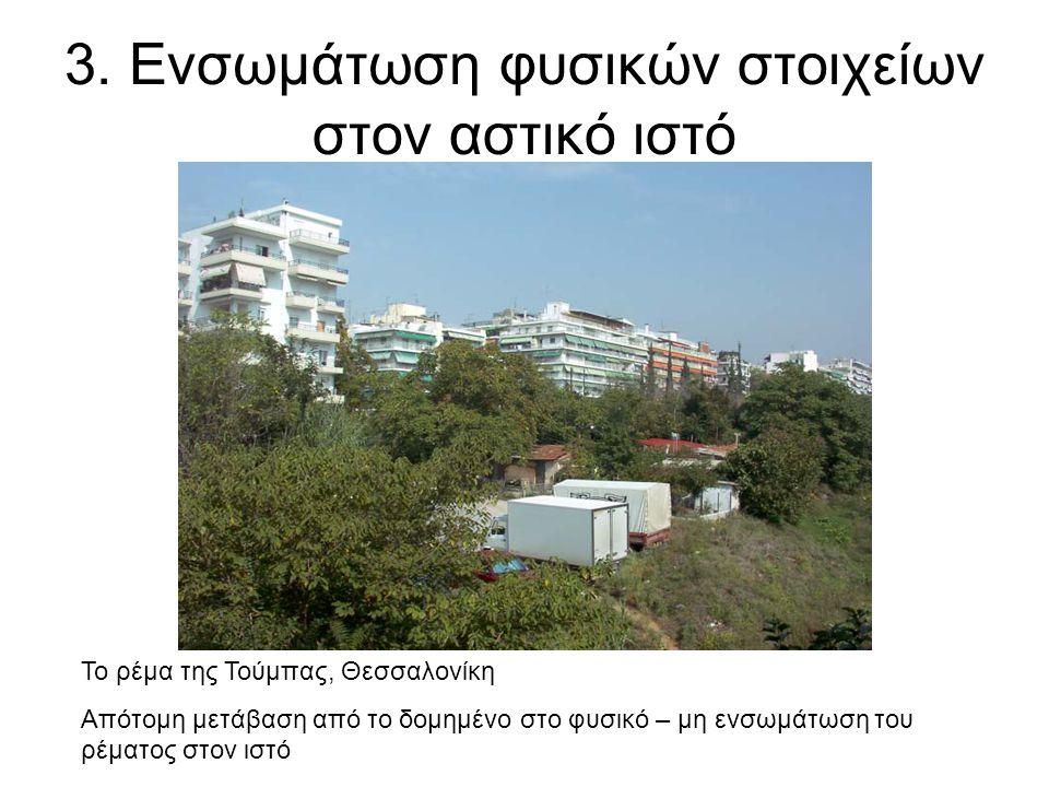 3. Ενσωμάτωση φυσικών στοιχείων στον αστικό ιστό Το ρέμα της Τούμπας, Θεσσαλονίκη Απότομη μετάβαση από το δομημένο στο φυσικό – μη ενσωμάτωση του ρέμα