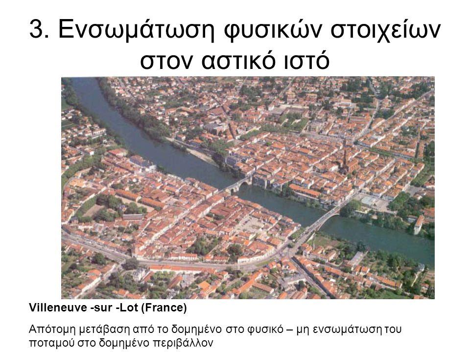 3. Ενσωμάτωση φυσικών στοιχείων στον αστικό ιστό Villeneuve -sur -Lot (France) Απότομη μετάβαση από το δομημένο στο φυσικό – μη ενσωμάτωση του ποταμού