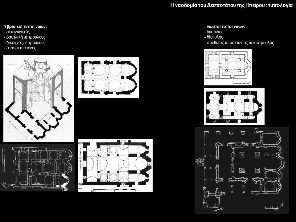 Η ναοδομία του Δεσποτάτου της Ηπείρου : τυπολογία Γνωστοί τύποι ναών: - δικιόνιος - δίστυλος - σύνθετος τετρακιόνιος πεντάτρουλος Υβριδικοί τύποι ναών