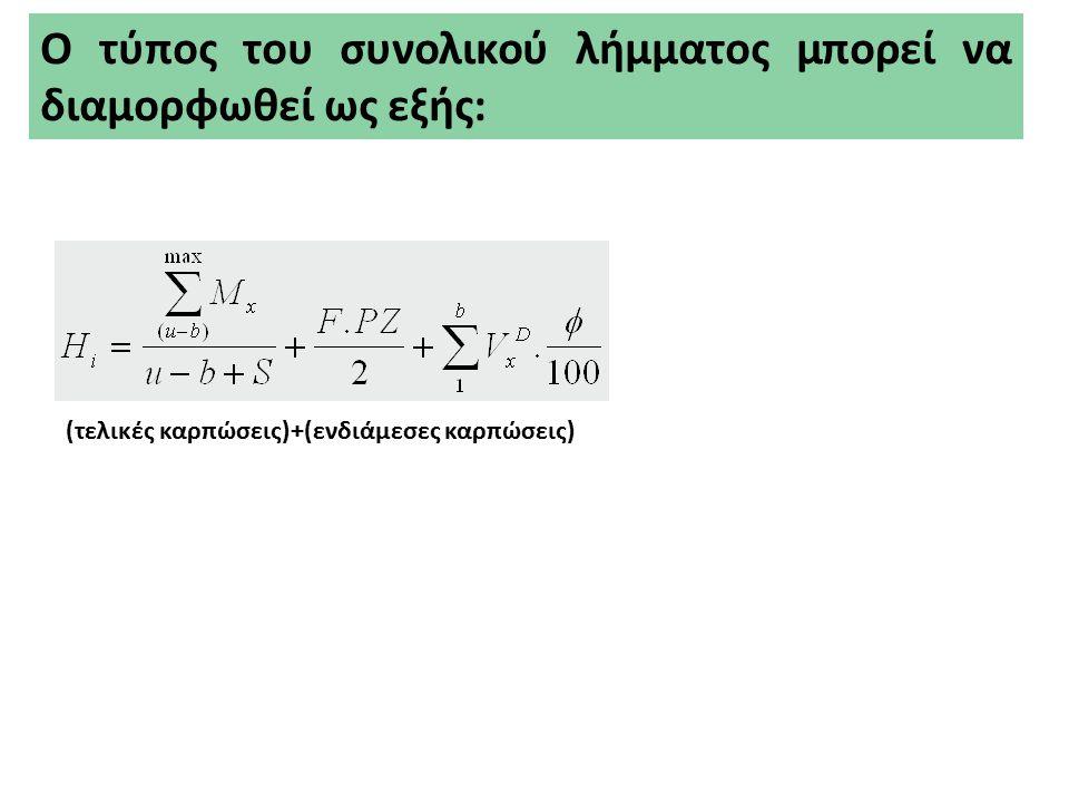 Παράδειγμα Αθροισμα τελικών και ενδιάμεσων καρπώσεων : Ερυθρελάτη (1)Συστάδες ηλικίας > 60 ετών : F = 120 Ha, ΣV w = 40000 m 3, PZ = 8 m 3 /Ha (2)Συστάδες ηλικίας < 60 ετών : V x D = 15000 m 3 (3) Μεταβατικός χρόνος s = 10 έτη