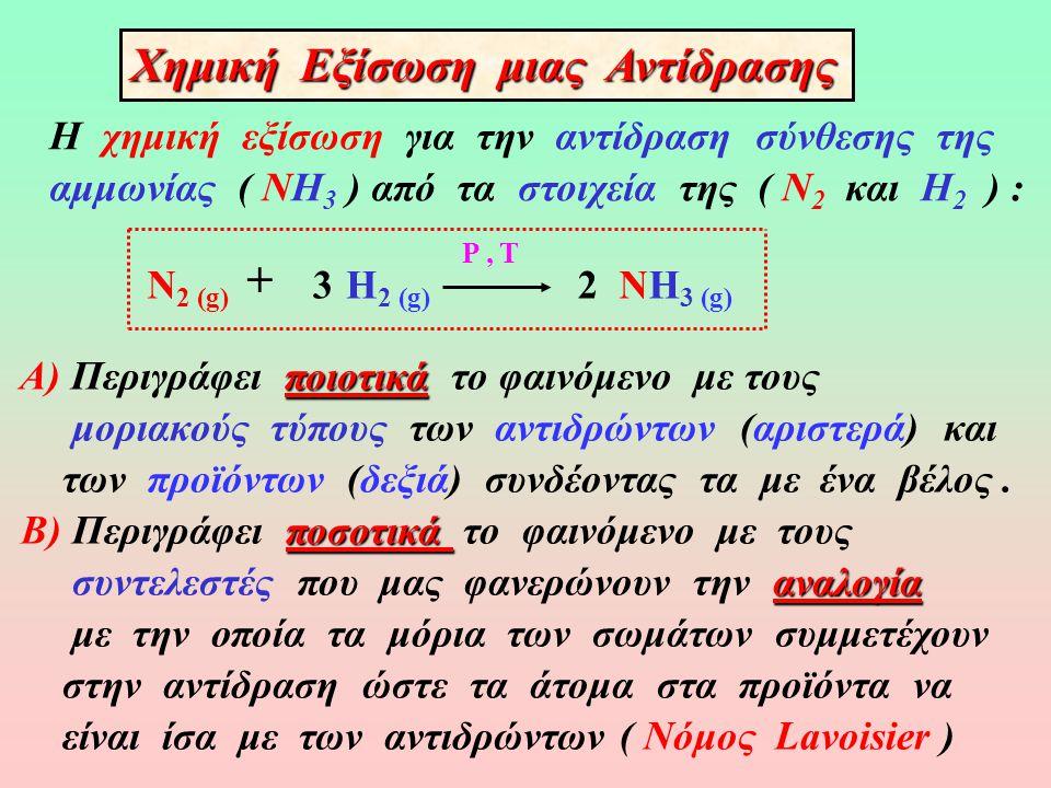 § 3.1 Χημικές Αντιδράσεις Χημικά φαινόμενααντιδράσεις Χημικά φαινόμενα ή αντιδράσεις ονομάζονται οι μεταβολές κατά τις οποίες, κάτω από ορισμένες αντιδρώντα συνθήκες, από ορισμένες αρχικές ουσίες (αντιδρώντα) προϊόντα δημιουργούνται νέες (προϊόντα) με διαφορετικές ιδιότητες.