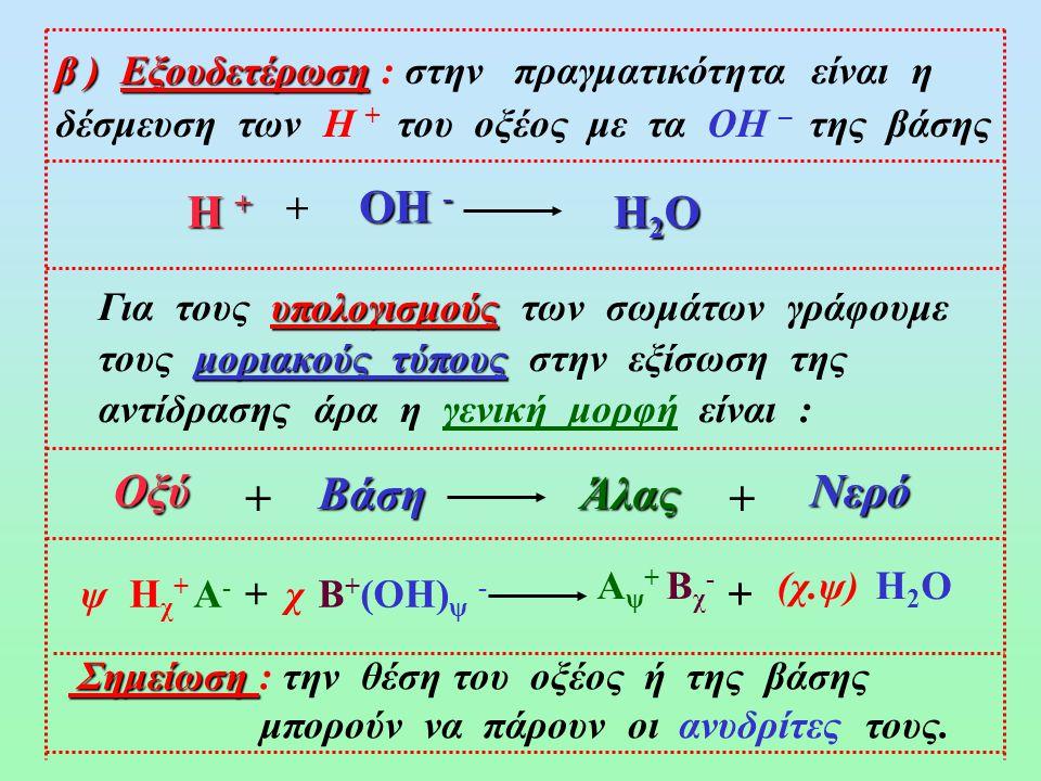 3) Α + (ΟΗ) ψ - Βάση 1 Άλας 1 Γ + Δ - Βάση 2 Γ + ΟΗ - Άλας 2 Α + Δ - + + ++ ΙΖΗΜΑ NaOH (αq) AlCl 3(αq) Al(OH) 3 (s) NaCl (αq) + +3 3.