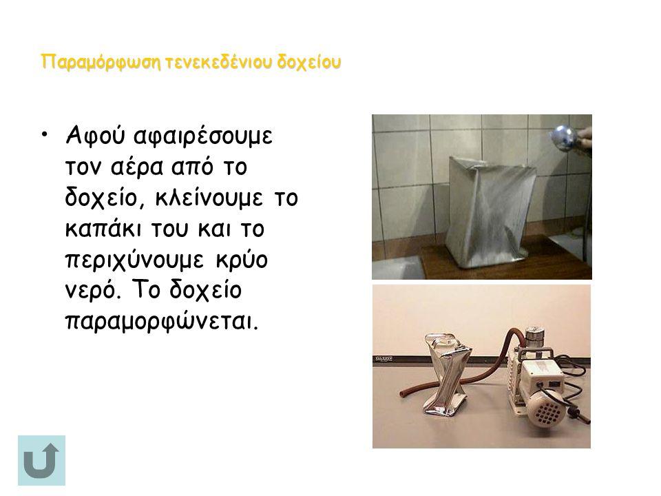 Παραμόρφωση τενεκεδένιου δοχείου Αφού αφαιρέσουμε τον αέρα από το δοχείο, κλείνουμε το καπάκι του και το περιχύνουμε κρύο νερό.
