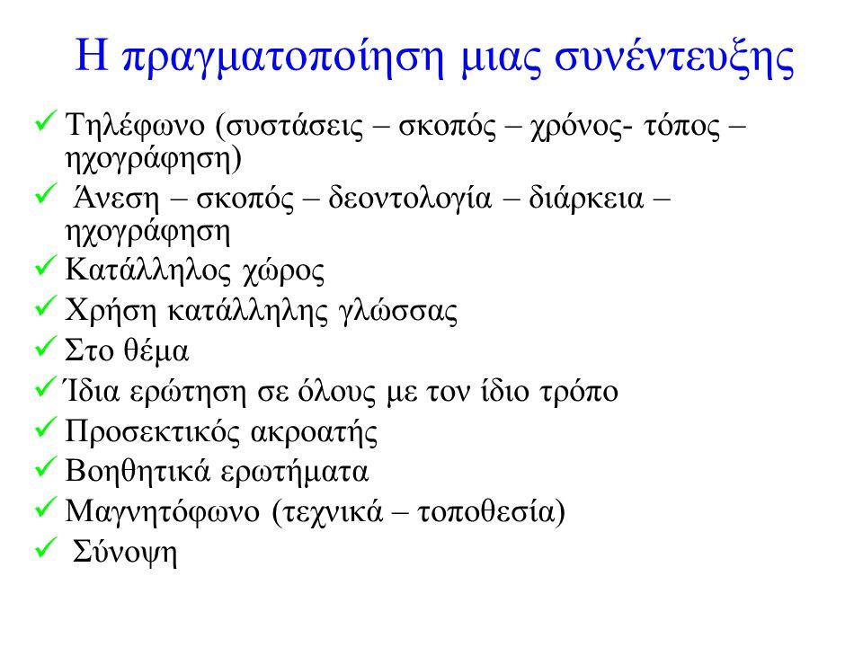 Η πραγματοποίηση μιας συνέντευξης Τηλέφωνο (συστάσεις – σκοπός – χρόνος- τόπος – ηχογράφηση) Άνεση – σκοπός – δεοντολογία – διάρκεια – ηχογράφηση Κατάλληλος χώρος Χρήση κατάλληλης γλώσσας Στο θέμα Ίδια ερώτηση σε όλους με τον ίδιο τρόπο Προσεκτικός ακροατής Βοηθητικά ερωτήματα Μαγνητόφωνο (τεχνικά – τοποθεσία) Σύνοψη