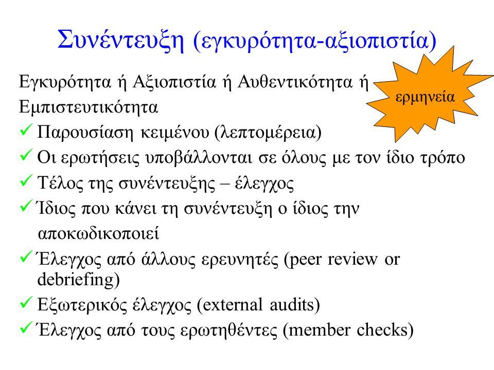 Συνέντευξη (εγκυρότητα-αξιοπιστία) Εγκυρότητα ή Αξιοπιστία ή Αυθεντικότητα ή Εμπιστευτικότητα Παρουσίαση κειμένου (λεπτομέρεια) Οι ερωτήσεις υποβάλλονται σε όλους με τον ίδιο τρόπο Τέλος της συνέντευξης – έλεγχος Ίδιος που κάνει τη συνέντευξη ο ίδιος την αποκωδικοποιεί Έλεγχος από άλλους ερευνητές (peer review or debriefing) Εξωτερικός έλεγχος (external audits) Έλεγχος από τους ερωτηθέντες (member checks) ερμηνεία