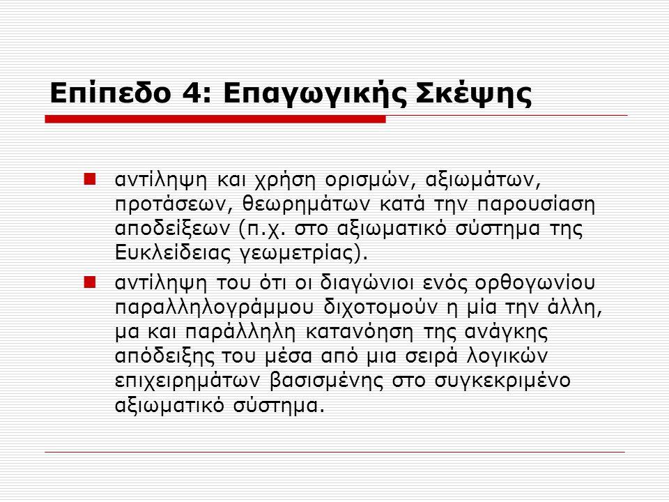 Επίπεδο 4: Επαγωγικής Σκέψης αντίληψη και χρήση ορισμών, αξιωμάτων, προτάσεων, θεωρημάτων κατά την παρουσίαση αποδείξεων (π.χ. στο αξιωματικό σύστημα