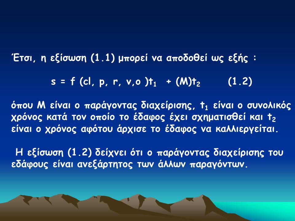 Έτσι, η εξίσωση (1.1) μπορεί να αποδοθεί ως εξής : s = f (cl, p, r, v,o )t 1 + (Μ)t 2 (1.2) όπου Μ είναι ο παράγοντας διαχείρισης, t 1 είναι ο συνολικ