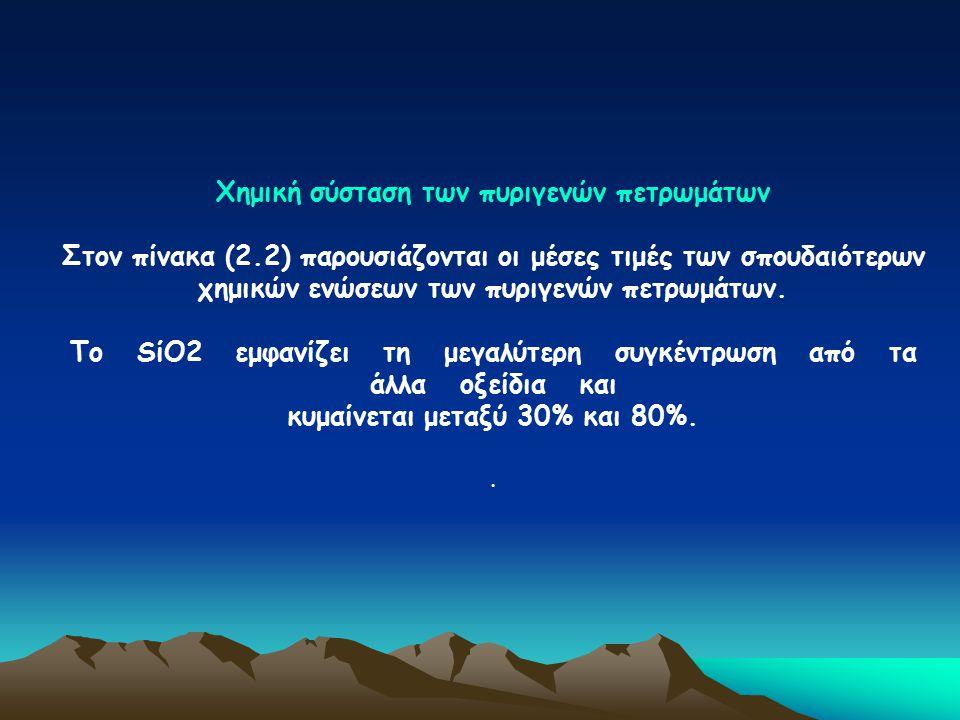 Χημική σύσταση των πυριγενών πετρωμάτων Στον πίνακα (2.2) παρουσιάζονται οι μέσες τιμές των σπουδαιότερων χημικών ενώσεων των πυριγενών πετρωμάτων. Το