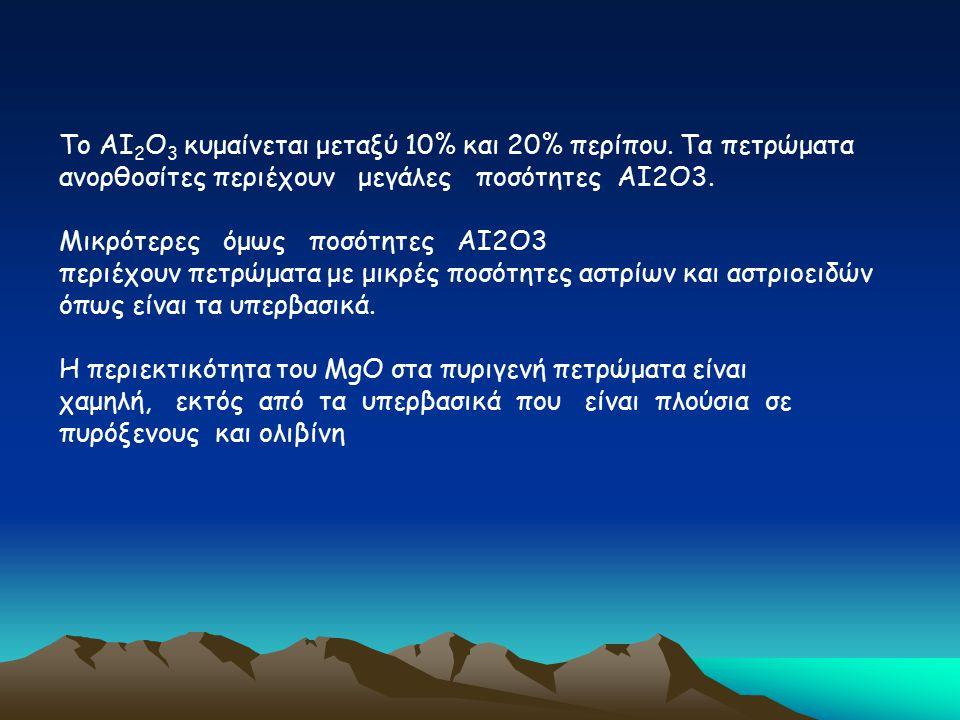 Το ΑΙ 2 Ο 3 κυμαίνεται μεταξύ 10% και 20% περίπου. Τα πετρώματα ανορθοσίτες περιέχουν μεγάλες ποσότητες ΑΙ2Ο3. Μικρότερες όμως ποσότητες ΑΙ2Ο3 περιέχο