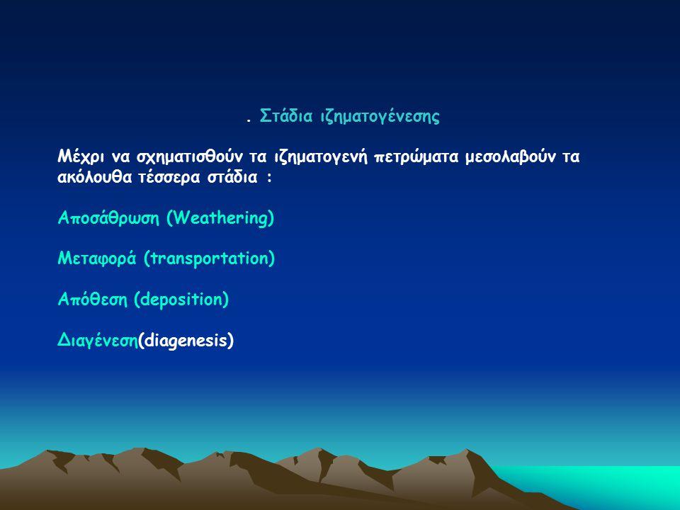 . Στάδια ιζηματογένεσης Μέχρι να σχηματισθούν τα ιζηματογενή πετρώματα μεσολαβούν τα ακόλουθα τέσσερα στάδια : Αποσάθρωση (Weathering) Μεταφορά (trans