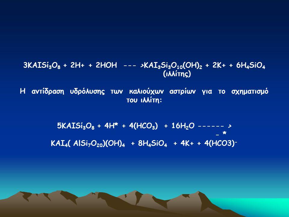 3ΚΑΙSί 3 Ο 8 + 2Η+ + 2ΗΟΗ --- >ΚΑΙ 3 Si 3 Ο 10 (ΟΗ) 2 + 2Κ+ + 6Η 4 SiΟ 4 (ιλλίτης) Η αντίδραση υδρόλυσης των καλιούχων αστρίων για το σχηματισμό του ι