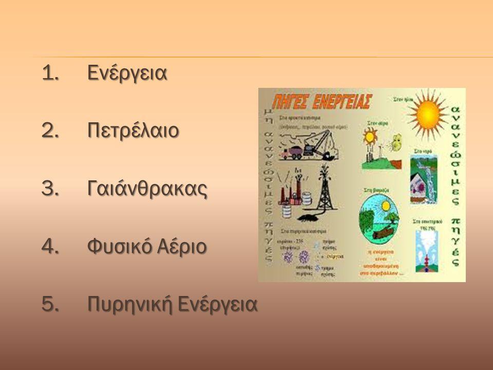 1. Ενέργεια 2. Πετρέλαιο 3. Γαιάνθρακας 4. Φυσικό Αέριο 5. Πυρηνική Ενέργεια