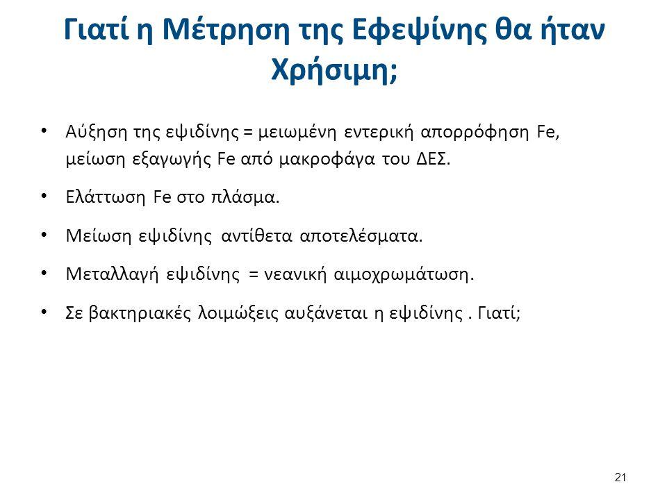 Γιατί η Μέτρηση της Εφεψίνης θα ήταν Χρήσιμη; Αύξηση της εψιδίνης = μειωμένη εντερική απορρόφηση Fe, μείωση εξαγωγής Fe από μακροφάγα του ΔΕΣ. Ελάττωσ