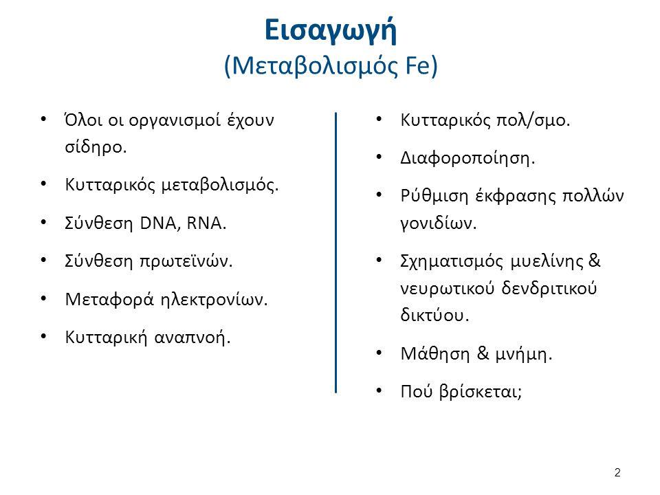 Εισαγωγή (Μεταβολισμός Fe) Όλοι οι οργανισμοί έχουν σίδηρο. Κυτταρικός μεταβολισμός. Σύνθεση DNA, RNA. Σύνθεση πρωτεϊνών. Μεταφορά ηλεκτρονίων. Κυτταρ