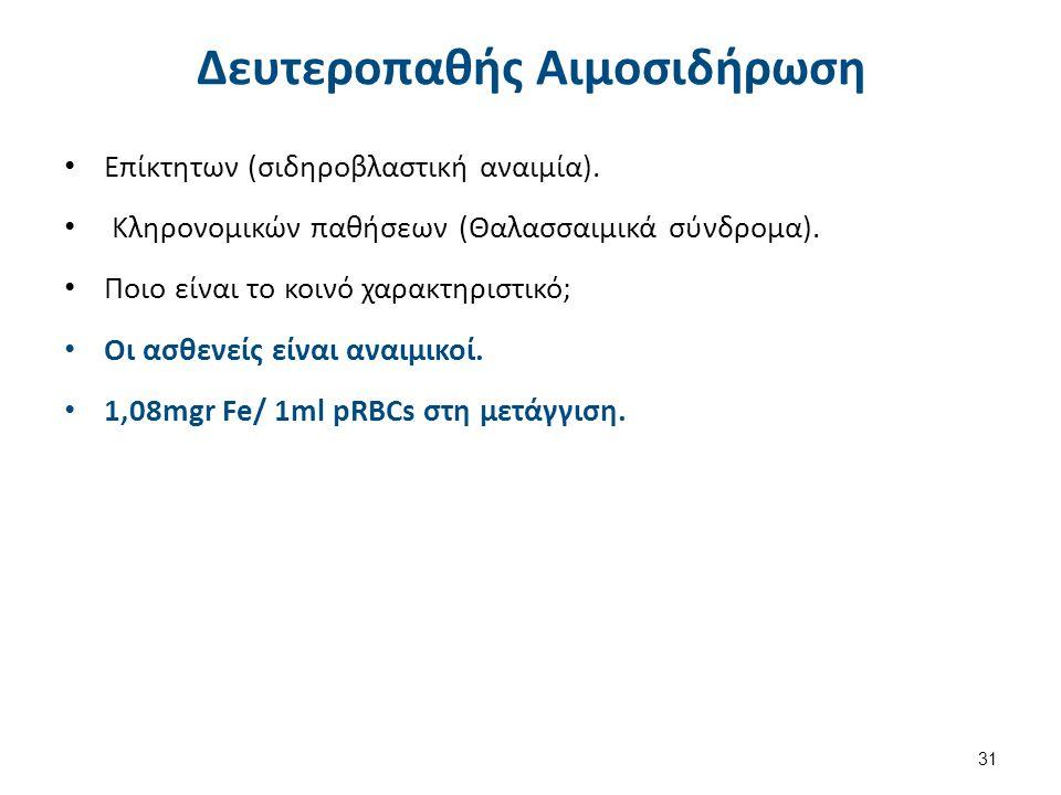 Δευτεροπαθής Αιμοσιδήρωση Επίκτητων (σιδηροβλαστική αναιμία). Κληρονομικών παθήσεων (Θαλασσαιμικά σύνδρομα). Ποιο είναι το κοινό χαρακτηριστικό; Οι ασ