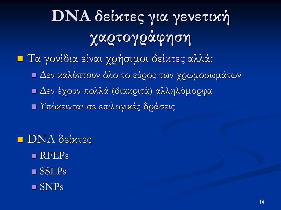 DNA δείκτες για γενετική χαρτογράφηση Τα γονίδια είναι χρήσιμοι δείκτες αλλά: Τα γονίδια είναι χρήσιμοι δείκτες αλλά: Δεν καλύπτουν όλο το εύρος των χ