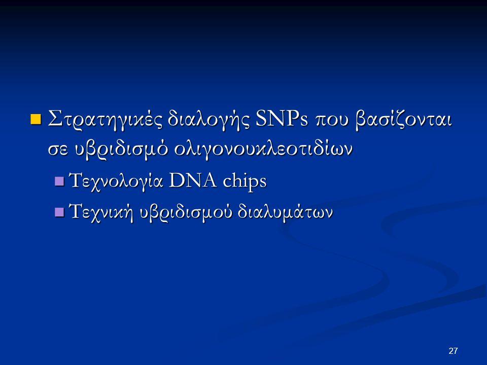 Στρατηγικές διαλογής SNPs που βασίζονται σε υβριδισμό ολιγονουκλεοτιδίων Στρατηγικές διαλογής SNPs που βασίζονται σε υβριδισμό ολιγονουκλεοτιδίων Τεχν