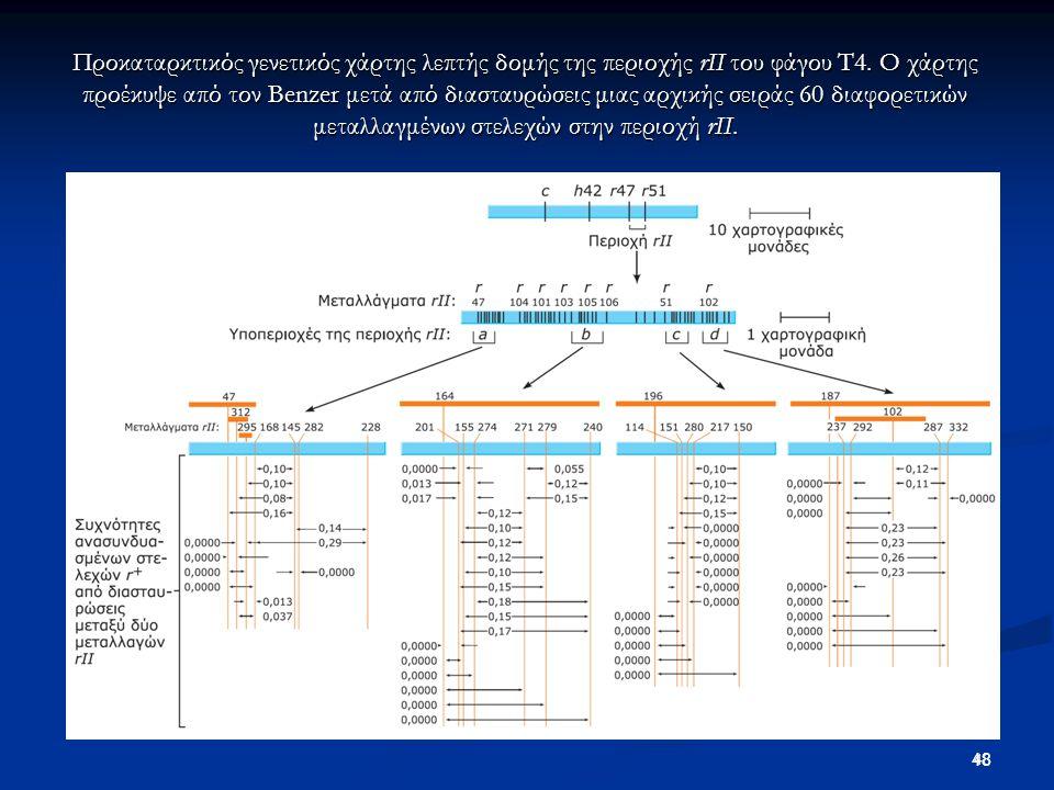 48 Προκαταρκτικός γενετικός χάρτης λεπτής δομής της περιοχής rII του φάγου T4. Ο χάρτης προέκυψε από τον Benzer μετά από διασταυρώσεις μιας αρχικής σε