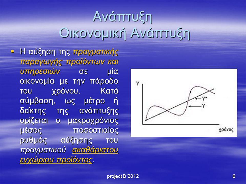 Ανάπτυξη Οικονομική Ανάπτυξη  Η αύξηση της πραγματικής παραγωγής προϊόντων και υπηρεσιών σε μία οικονομία με την πάροδο του χρόνου.