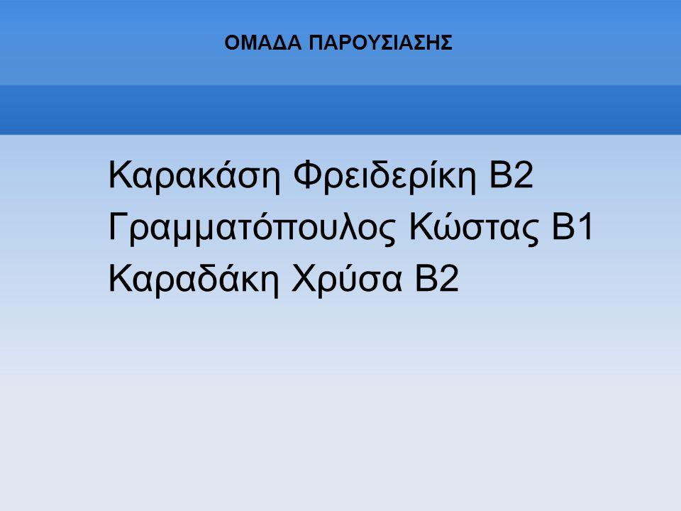 ΟΜΑΔΑ ΠΑΡΟΥΣΙΑΣΗΣ Καρακάση Φρειδερίκη Β2 Γραμματόπουλος Κώστας Β1 Καραδάκη Χρύσα Β2