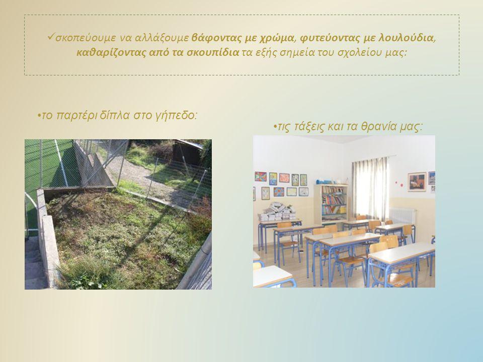 σκοπεύουμε να αλλάξουμε βάφοντας με χρώμα, φυτεύοντας με λουλούδια, καθαρίζοντας από τα σκουπίδια τα εξής σημεία του σχολείου μας: το παρτέρι δίπλα στο γήπεδο: τις τάξεις και τα θρανία μας: