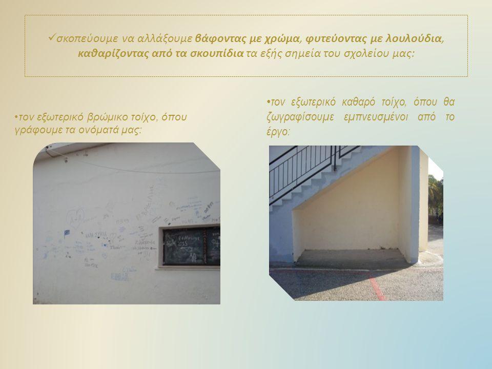σκοπεύουμε να αλλάξουμε βάφοντας με χρώμα, φυτεύοντας με λουλούδια, καθαρίζοντας από τα σκουπίδια τα εξής σημεία του σχολείου μας: τον εξωτερικό βρώμικο τοίχο, όπου γράφουμε τα ονόματά μας: τον εξωτερικό καθαρό τοίχο, όπου θα ζωγραφίσουμε εμπνευσμένοι από το έργο: